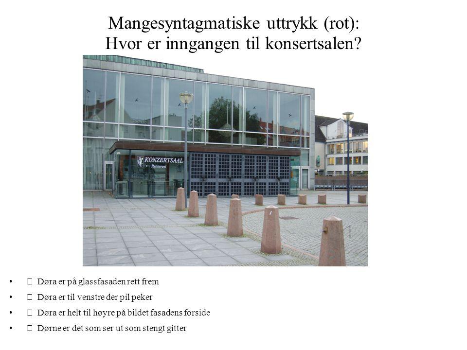 Mangesyntagmatiske uttrykk (rot): Hvor er inngangen til konsertsalen