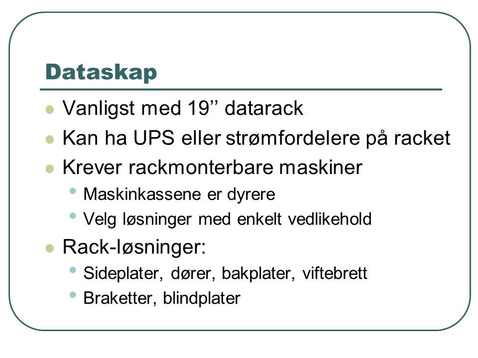 Dataskap Vanligst med 19'' datarack