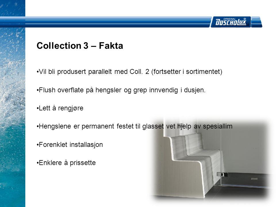 Collection 3 – Fakta Vil bli produsert parallelt med Coll. 2 (fortsetter i sortimentet) Flush overflate på hengsler og grep innvendig i dusjen.