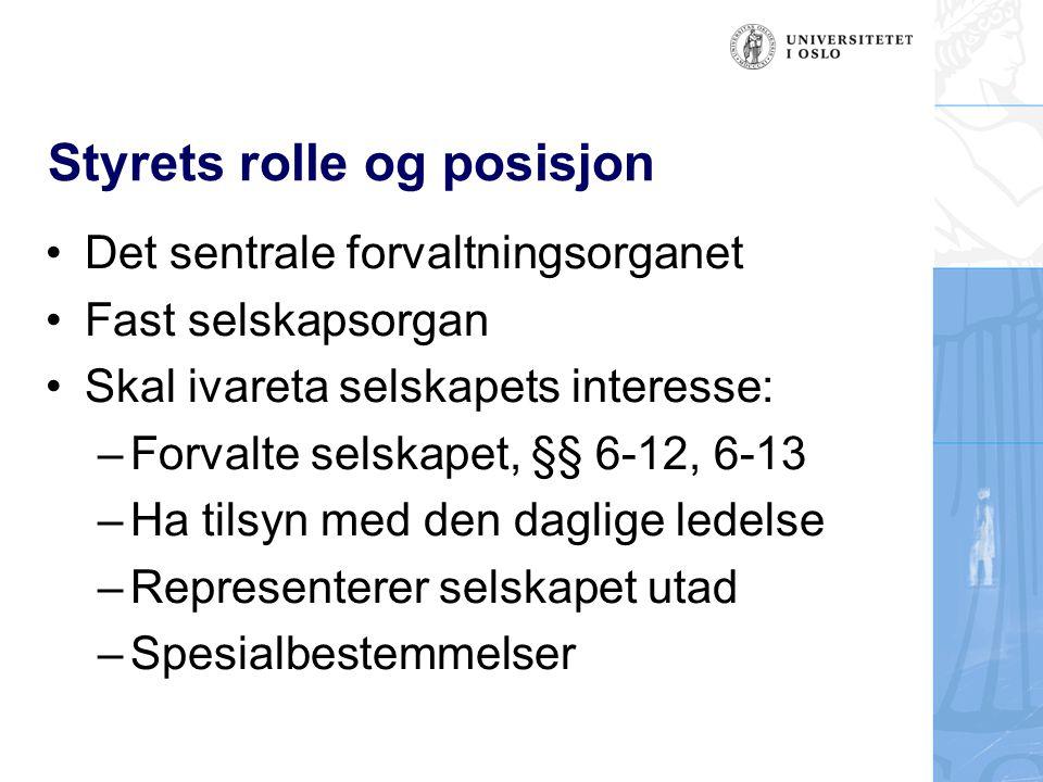 Styrets rolle og posisjon
