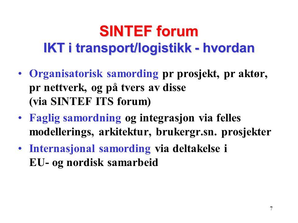 SINTEF forum IKT i transport/logistikk - hvordan