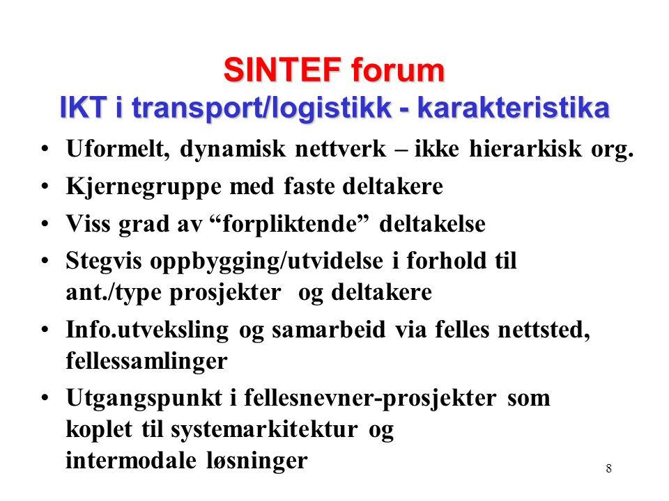 SINTEF forum IKT i transport/logistikk - karakteristika