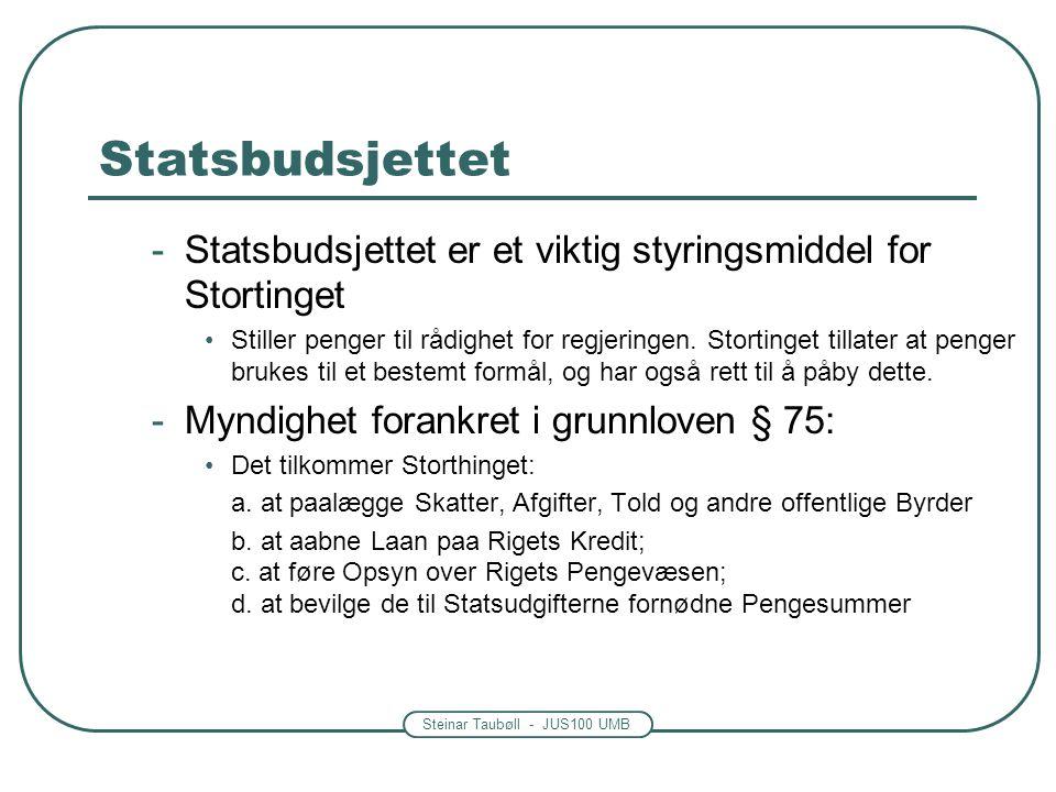 Statsbudsjettet Statsbudsjettet er et viktig styringsmiddel for Stortinget.