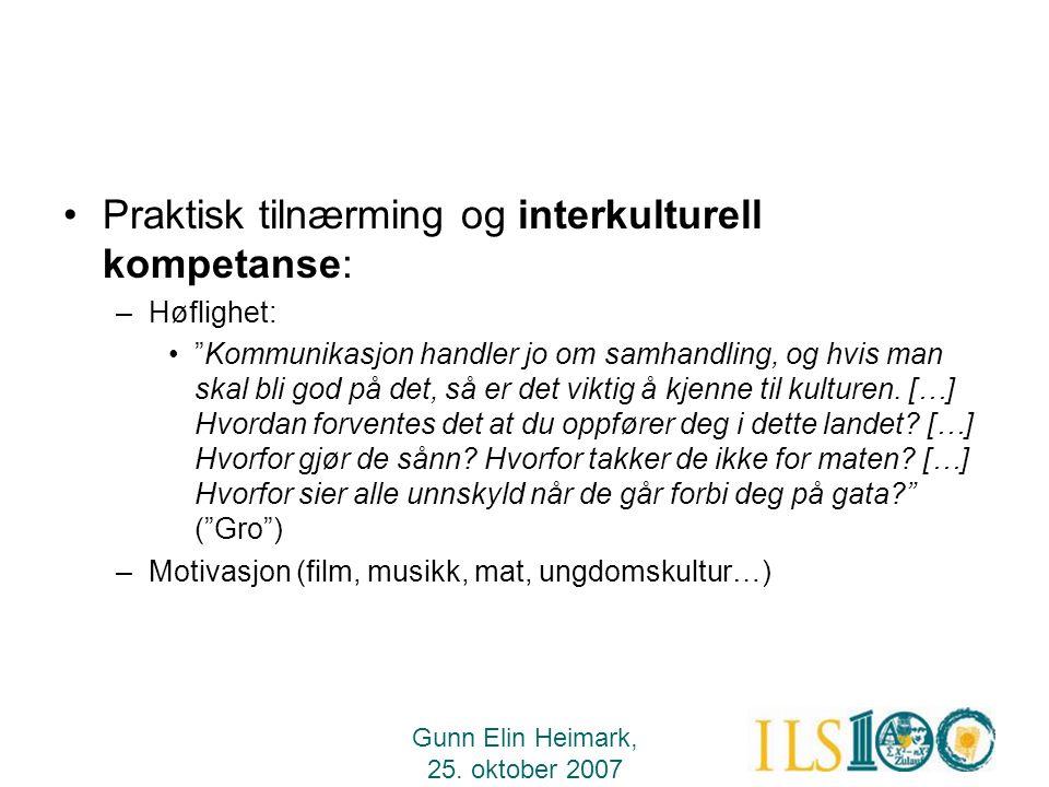 Praktisk tilnærming og interkulturell kompetanse:
