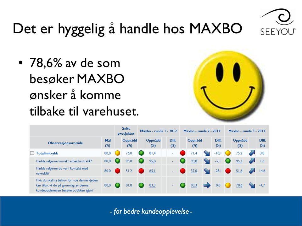 Det er hyggelig å handle hos MAXBO