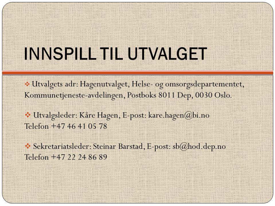 INNSPILL TIL UTVALGET Utvalgets adr: Hagenutvalget, Helse- og omsorgsdepartementet, Kommunetjeneste-avdelingen, Postboks 8011 Dep, 0030 Oslo.