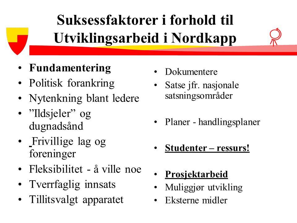 Suksessfaktorer i forhold til Utviklingsarbeid i Nordkapp