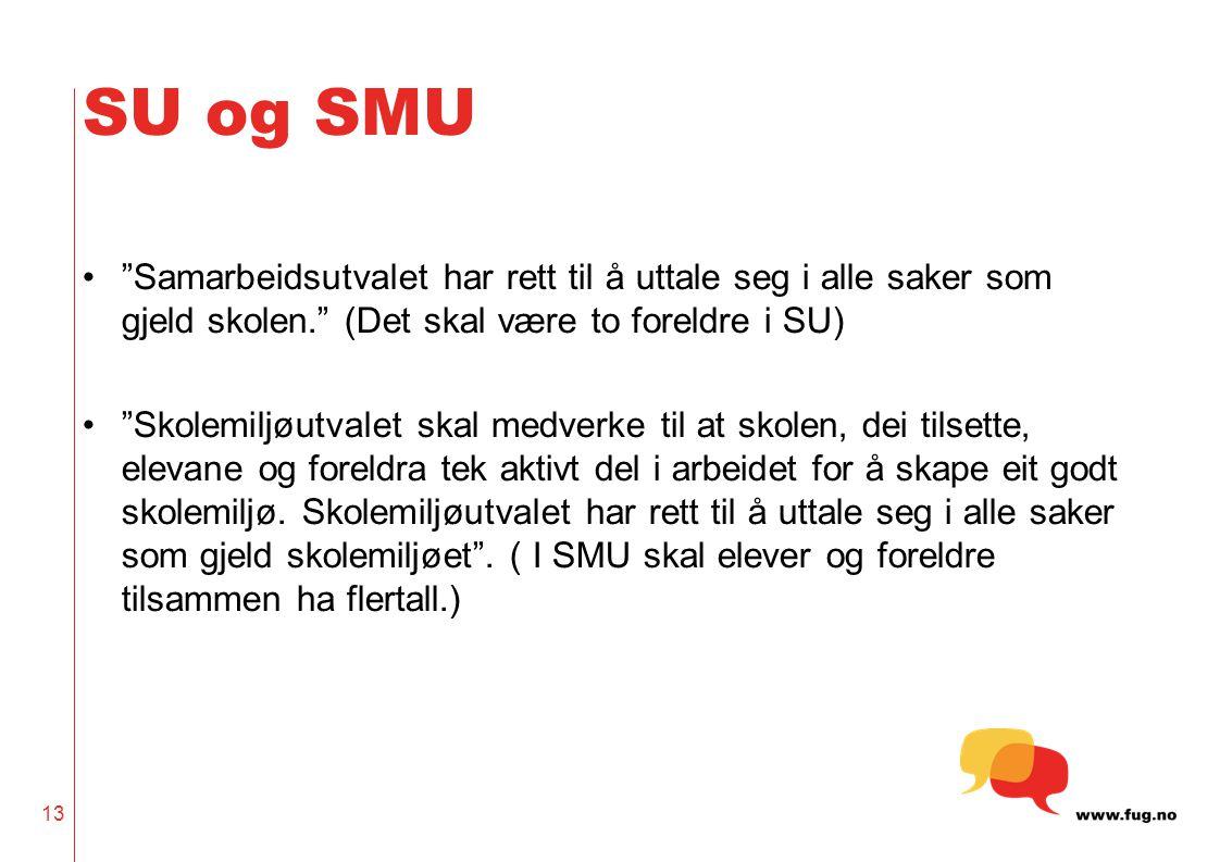 SU og SMU Samarbeidsutvalet har rett til å uttale seg i alle saker som gjeld skolen. (Det skal være to foreldre i SU)
