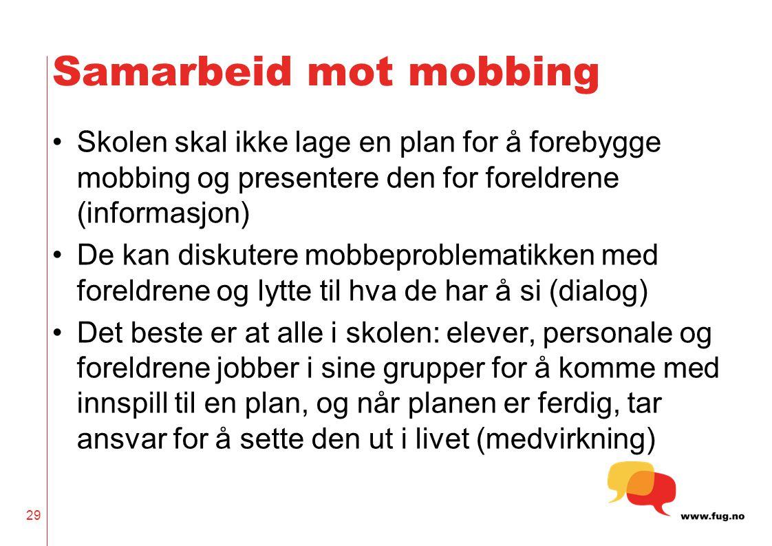 Samarbeid mot mobbing Skolen skal ikke lage en plan for å forebygge mobbing og presentere den for foreldrene (informasjon)