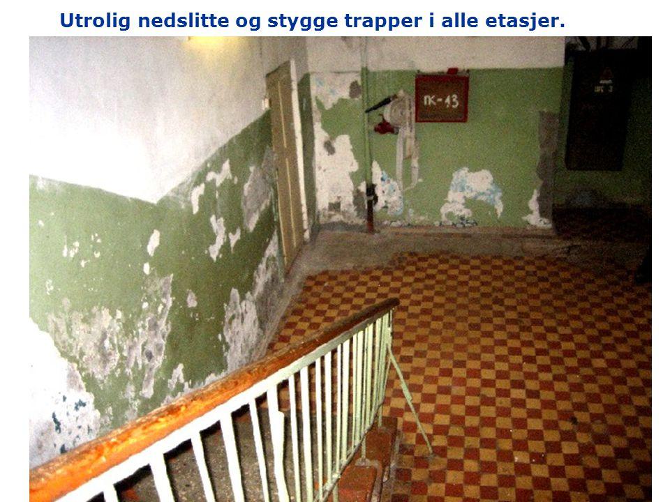 Utrolig nedslitte og stygge trapper i alle etasjer.