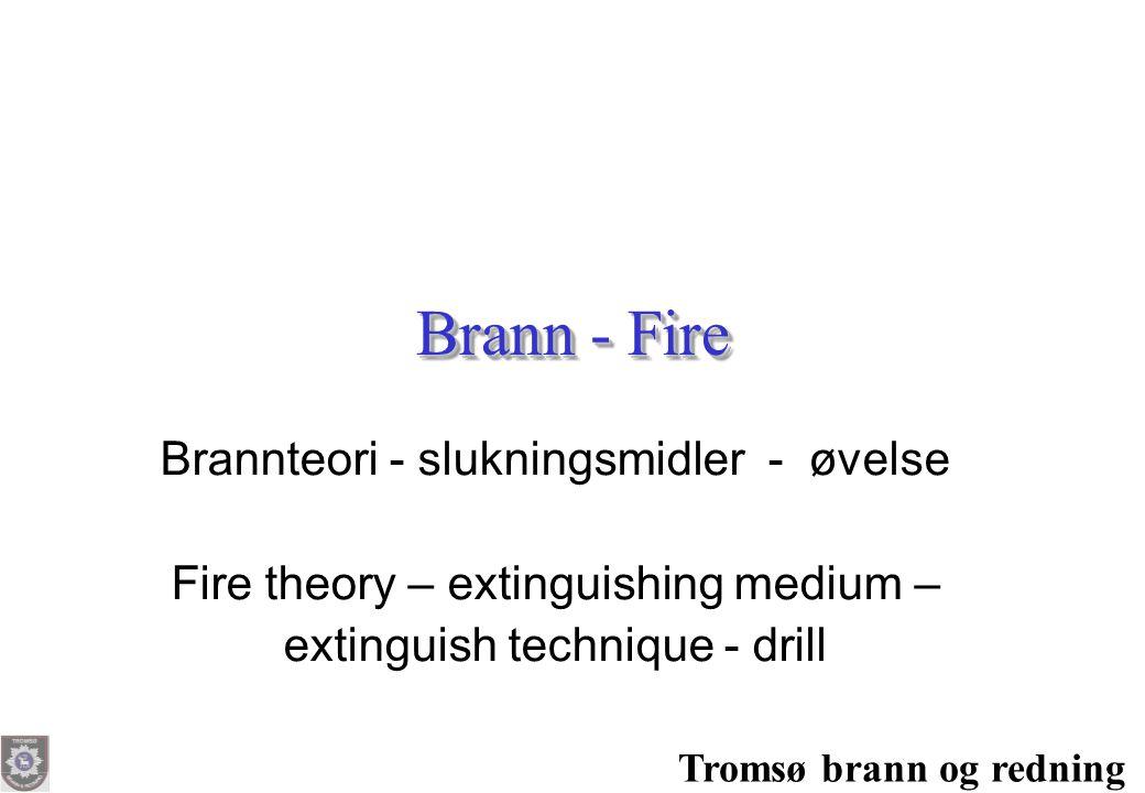Brann - Fire Brannteori - slukningsmidler - øvelse