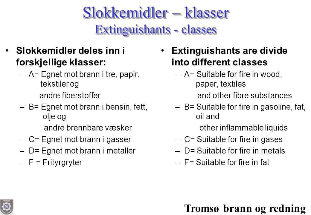 Slokkemidler – klasser Extinguishants - classes