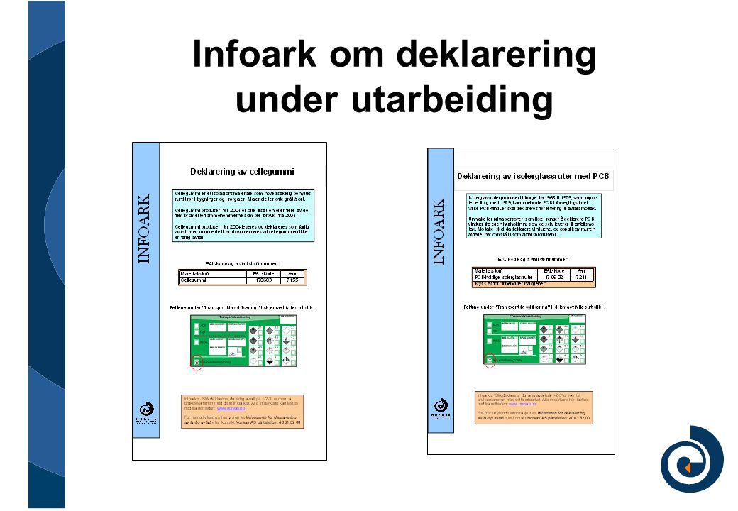 Infoark om deklarering under utarbeiding