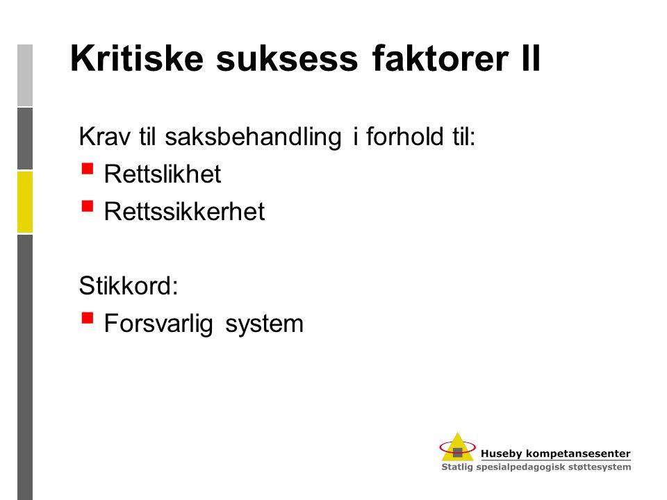 Kritiske suksess faktorer II