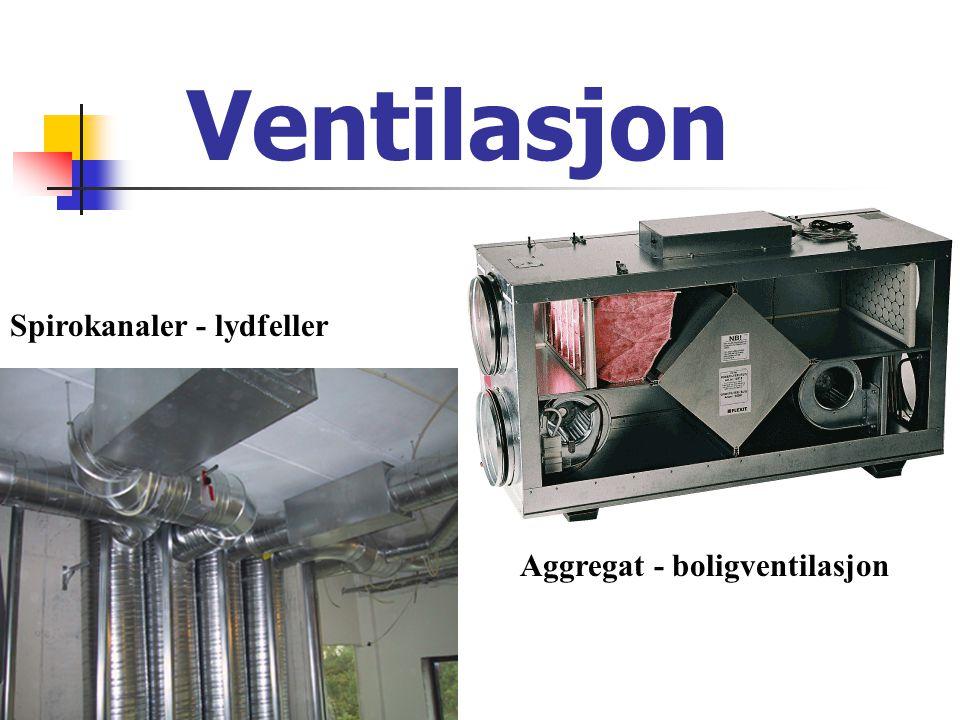 Ventilasjon Spirokanaler - lydfeller Aggregat - boligventilasjon