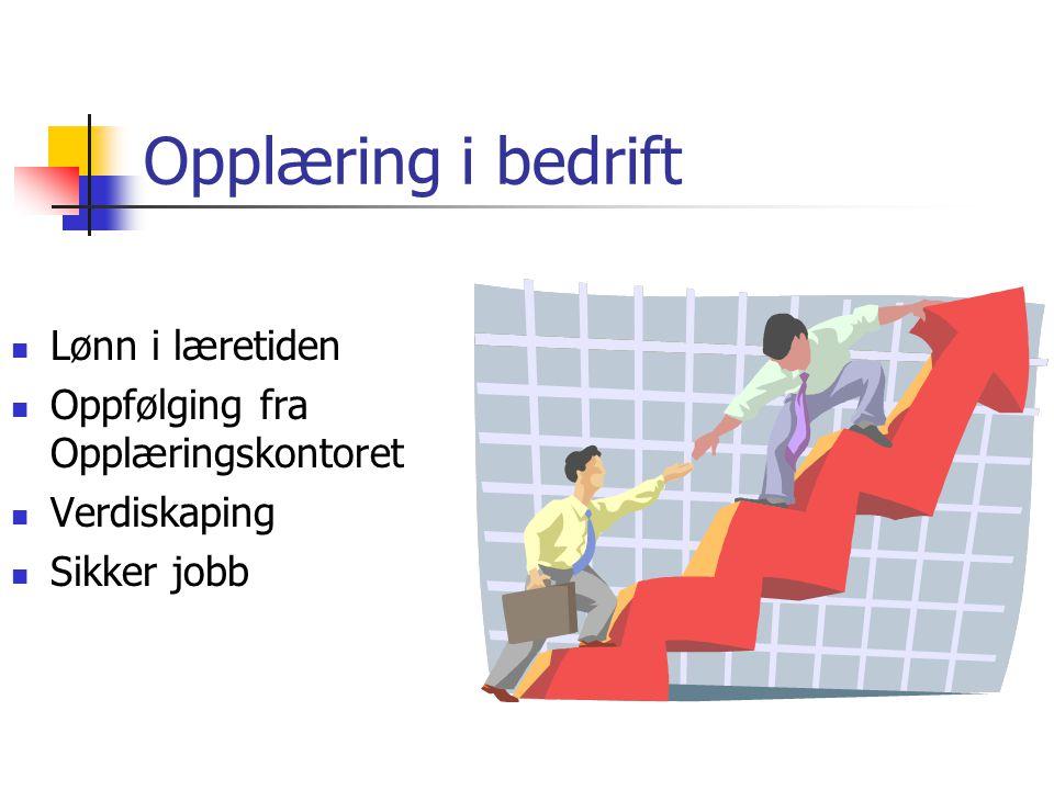 Opplæring i bedrift Lønn i læretiden Oppfølging fra Opplæringskontoret