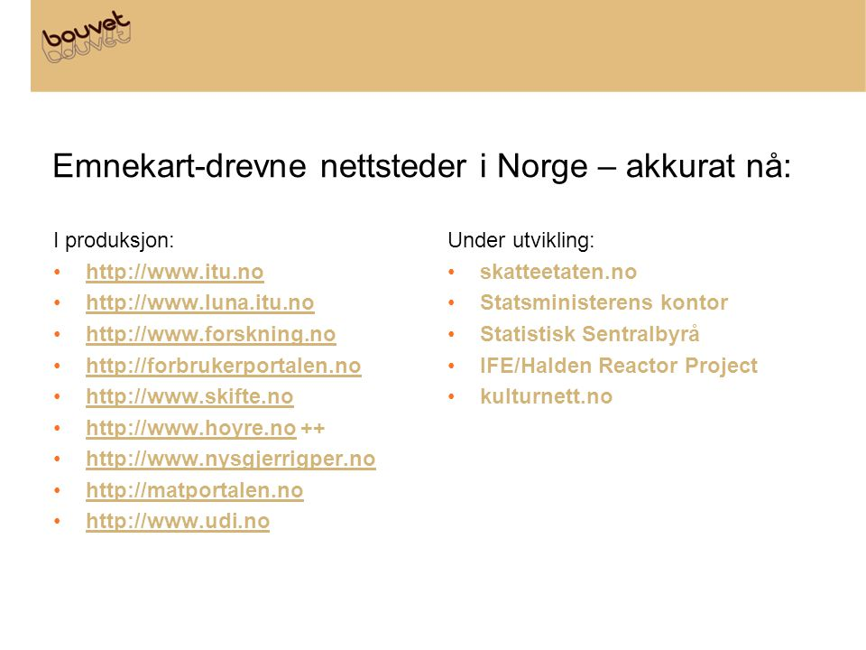 Emnekart-drevne nettsteder i Norge – akkurat nå: