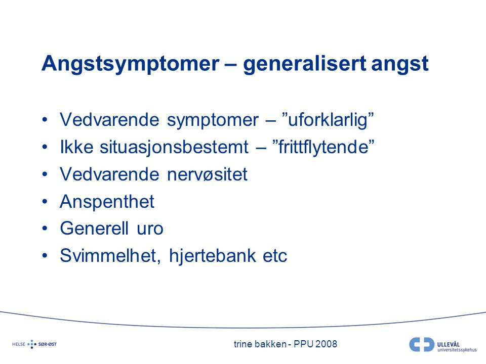 Angstsymptomer – generalisert angst