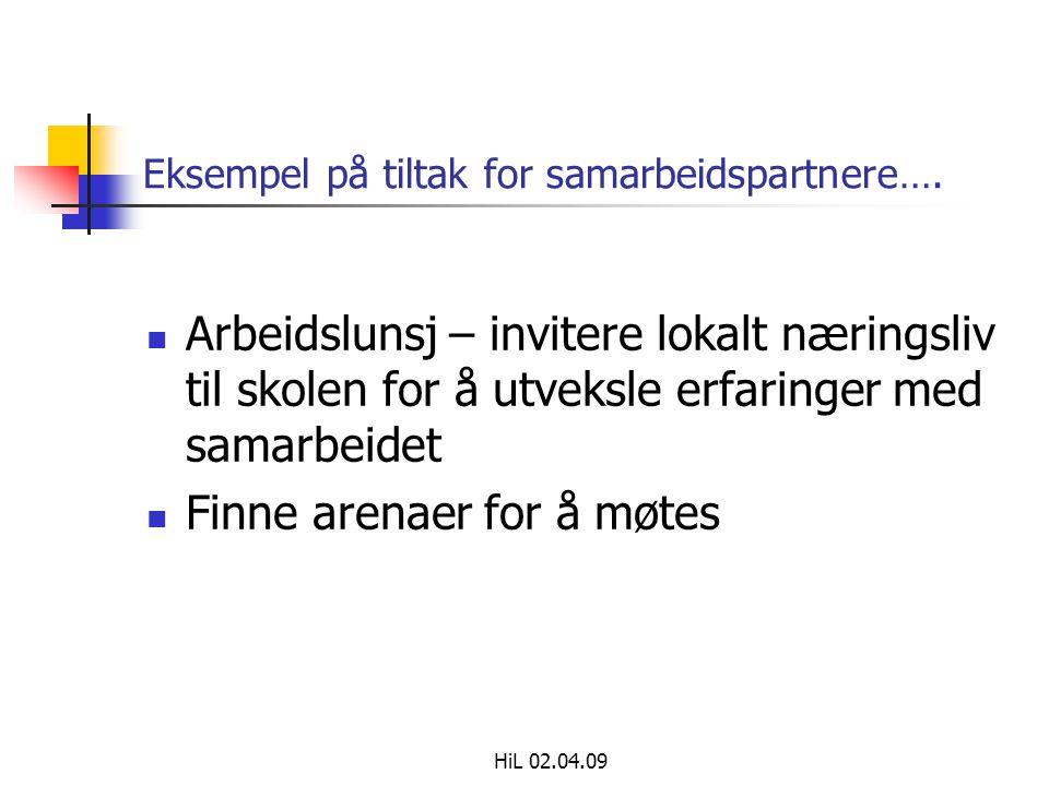 Eksempel på tiltak for samarbeidspartnere….