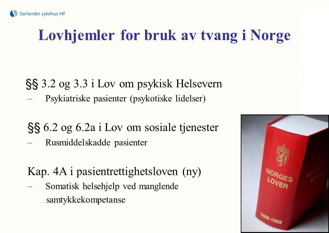 Lovhjemler for bruk av tvang i Norge