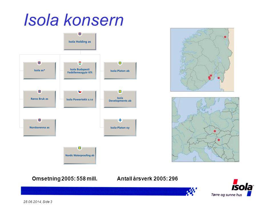 Isola konsern * Omsetning 2005: 558 mill. Antall årsverk 2005: 296
