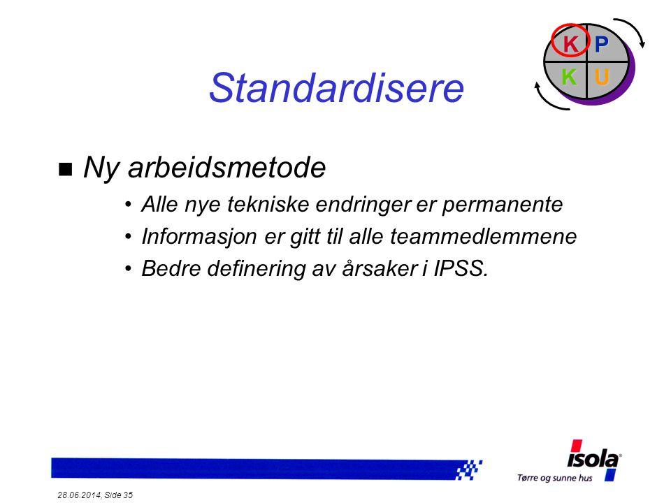 Standardisere Ny arbeidsmetode P U K