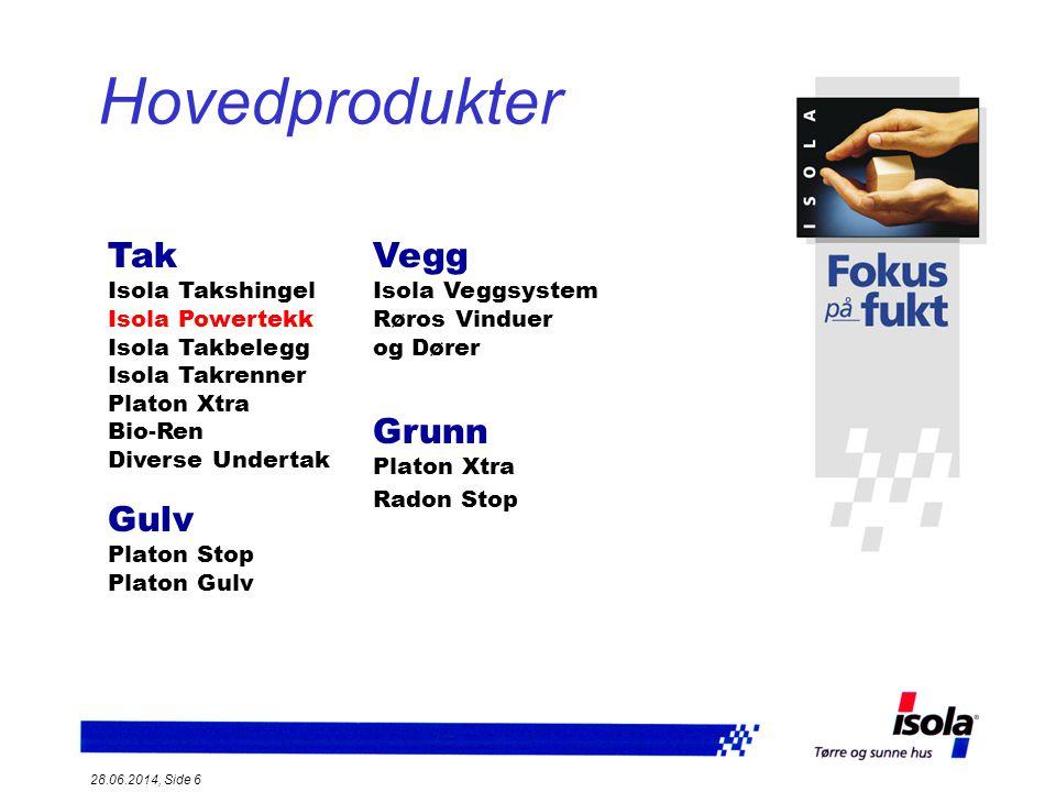 Hovedprodukter Tak Isola Takshingel Isola Powertekk Isola Takbelegg Isola Takrenner Platon Xtra Bio-Ren.