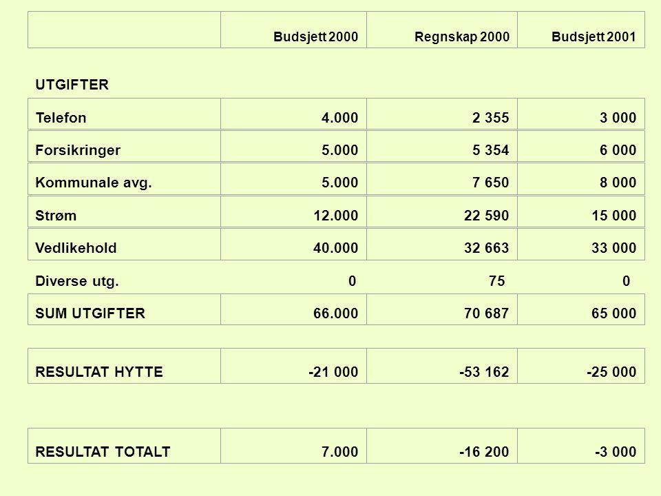 UTGIFTER Diverse utg. 75 Telefon 4.000 2 355 3 000 Forsikringer 5.000