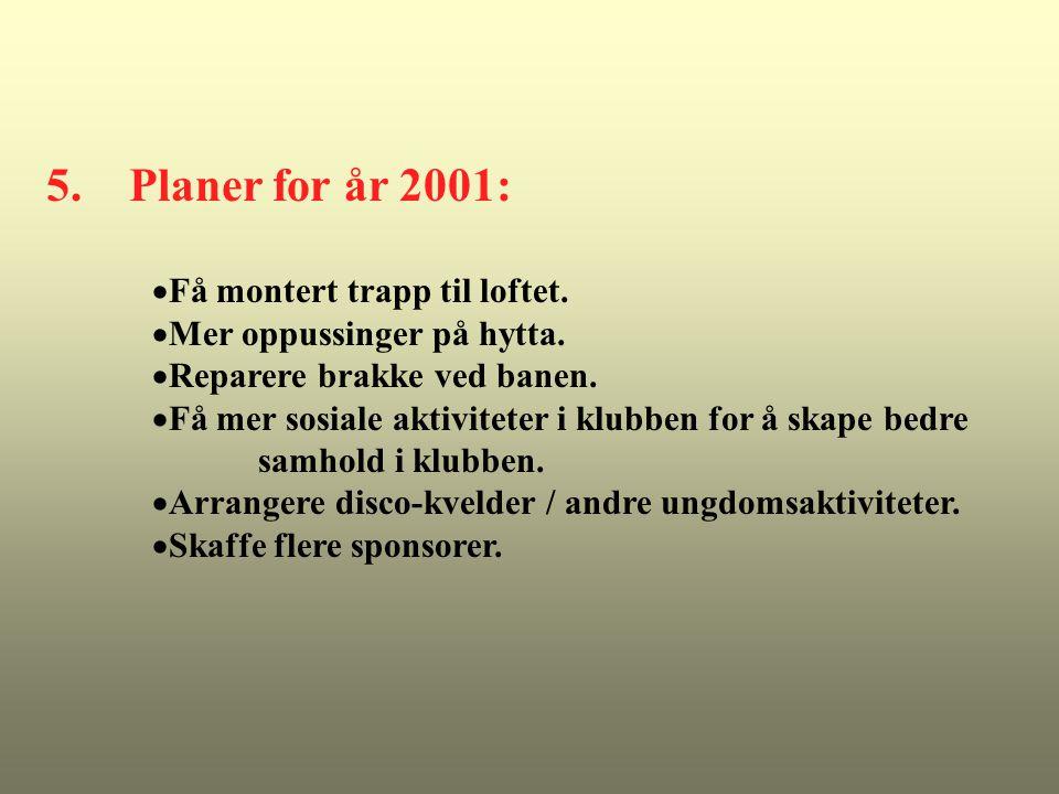 5. Planer for år 2001: Få montert trapp til loftet.