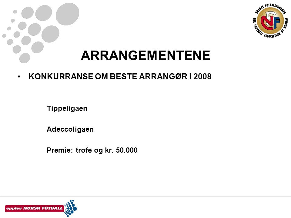 ARRANGEMENTENE KONKURRANSE OM BESTE ARRANGØR I 2008 Tippeligaen