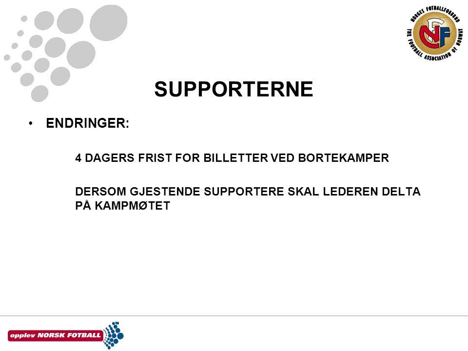 SUPPORTERNE ENDRINGER: 4 DAGERS FRIST FOR BILLETTER VED BORTEKAMPER