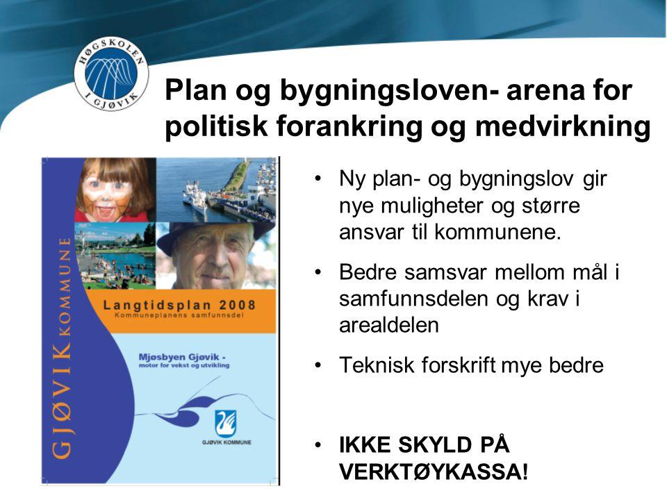 Plan og bygningsloven- arena for politisk forankring og medvirkning