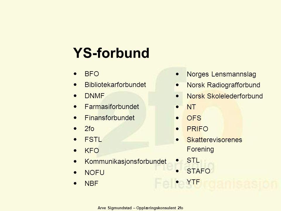 YS-forbund BFO Norges Lensmannslag Bibliotekarforbundet