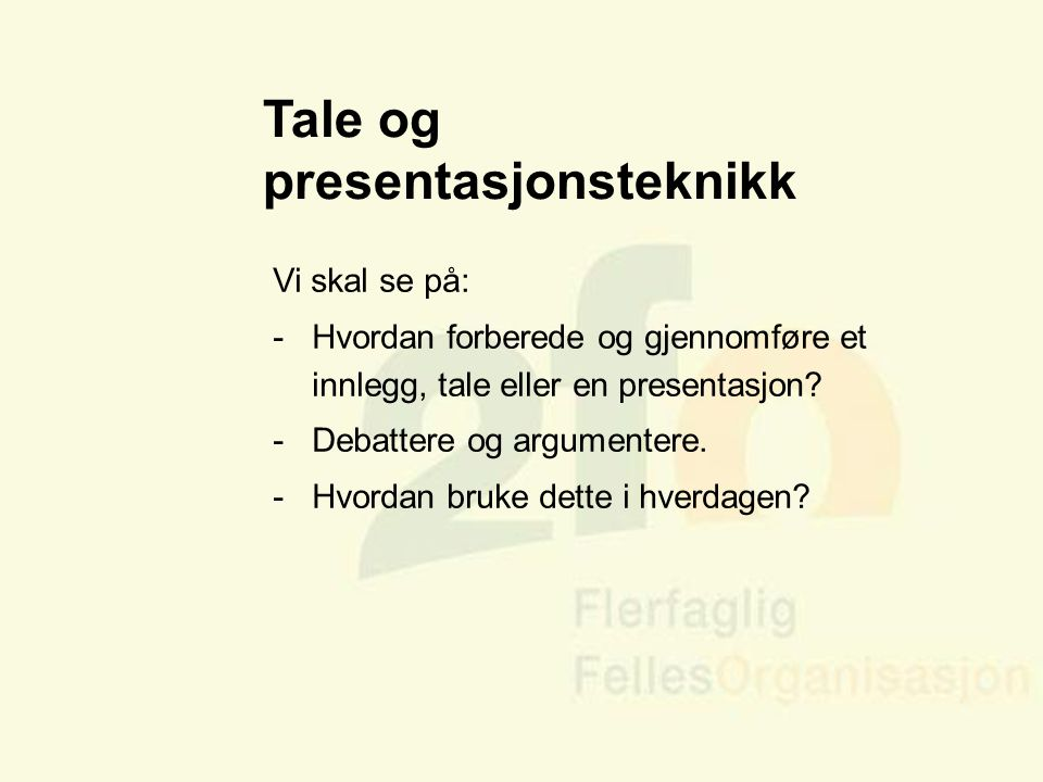 Tale og presentasjonsteknikk