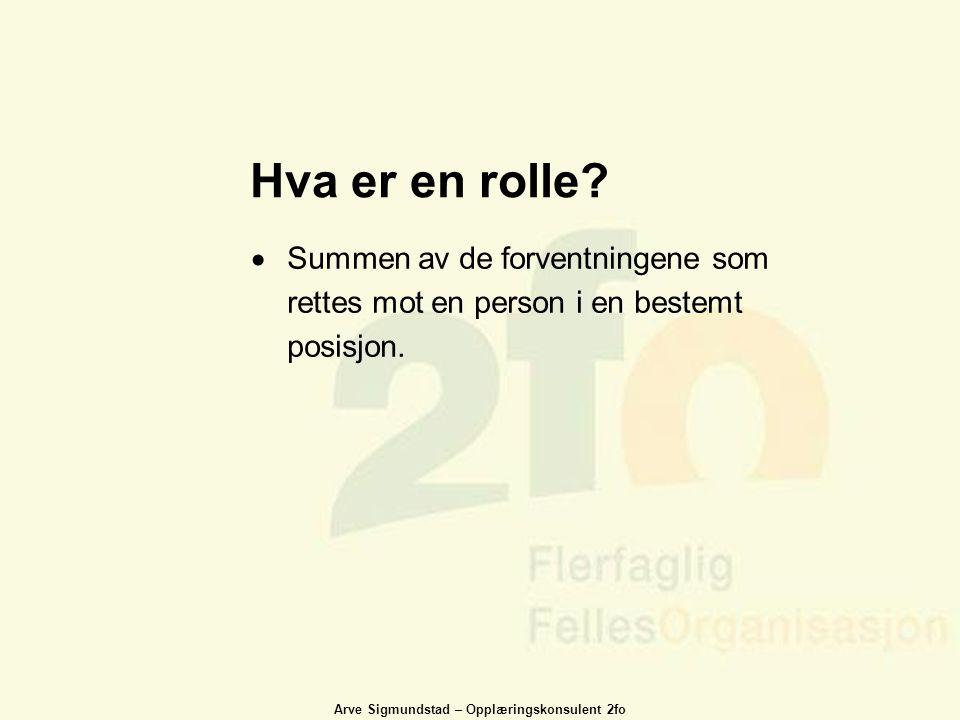 Hva er en rolle Summen av de forventningene som rettes mot en person i en bestemt posisjon.