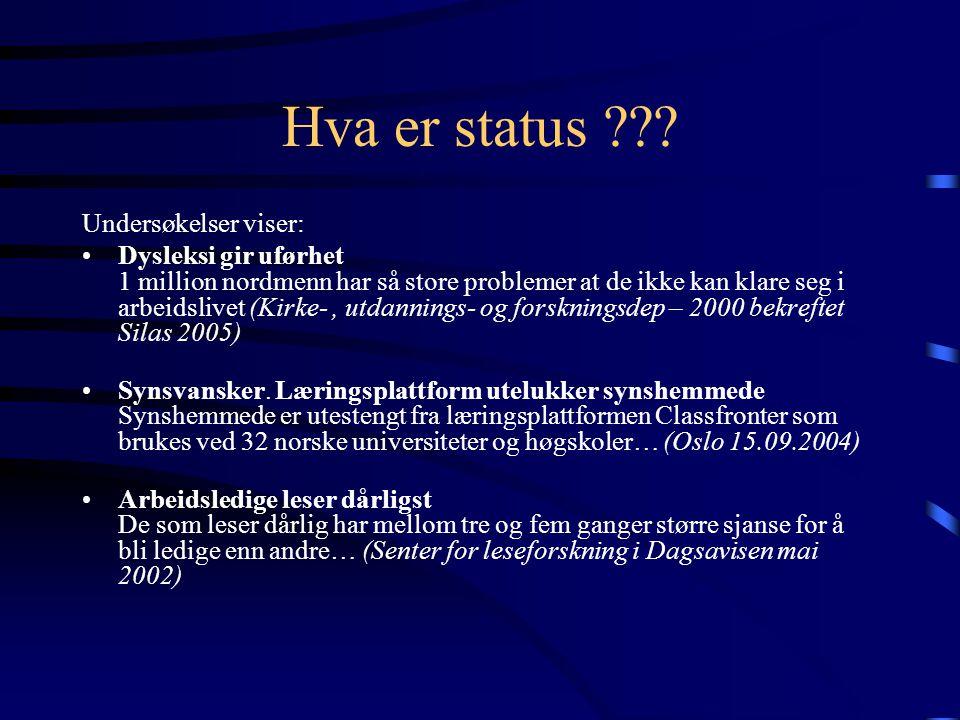 Hva er status Undersøkelser viser: