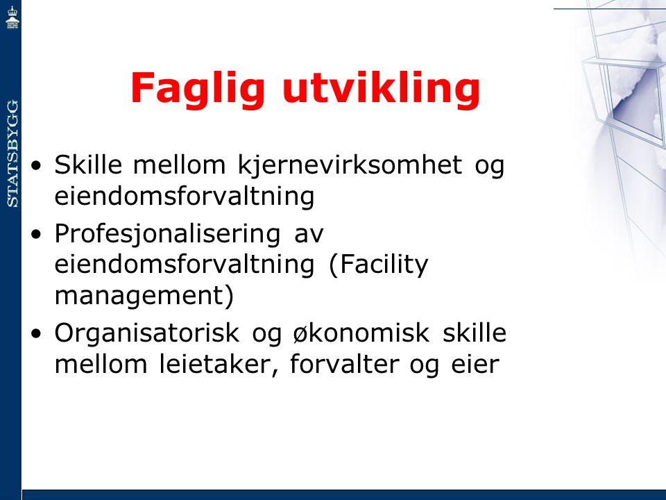 Faglig utvikling Skille mellom kjernevirksomhet og eiendomsforvaltning