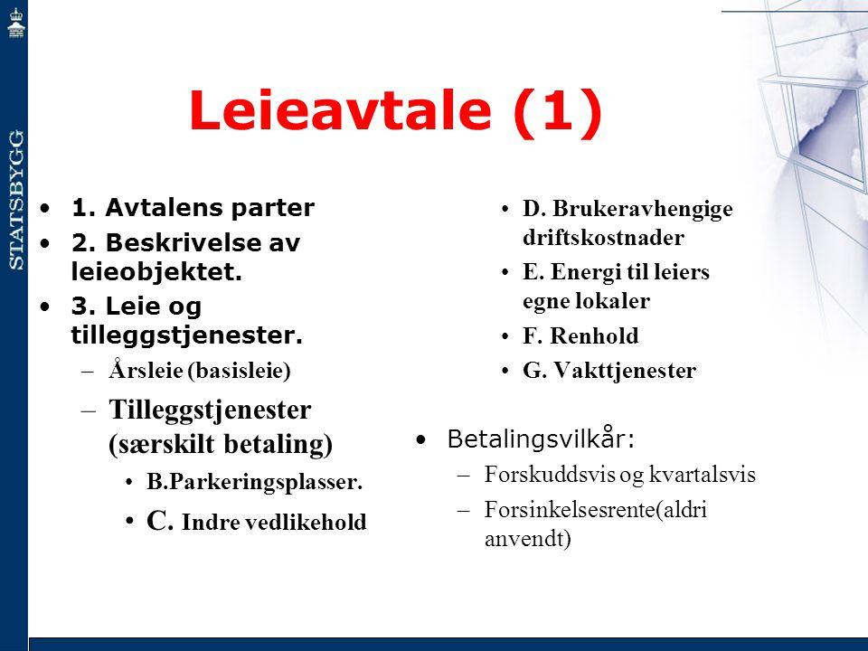 Leieavtale (1) Tilleggstjenester (særskilt betaling)