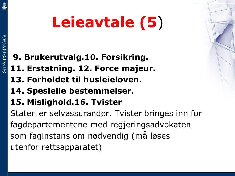 Leieavtale (5) 9. Brukerutvalg.10. Forsikring.