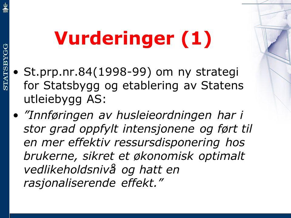 Vurderinger (1) St.prp.nr.84(1998-99) om ny strategi for Statsbygg og etablering av Statens utleiebygg AS: