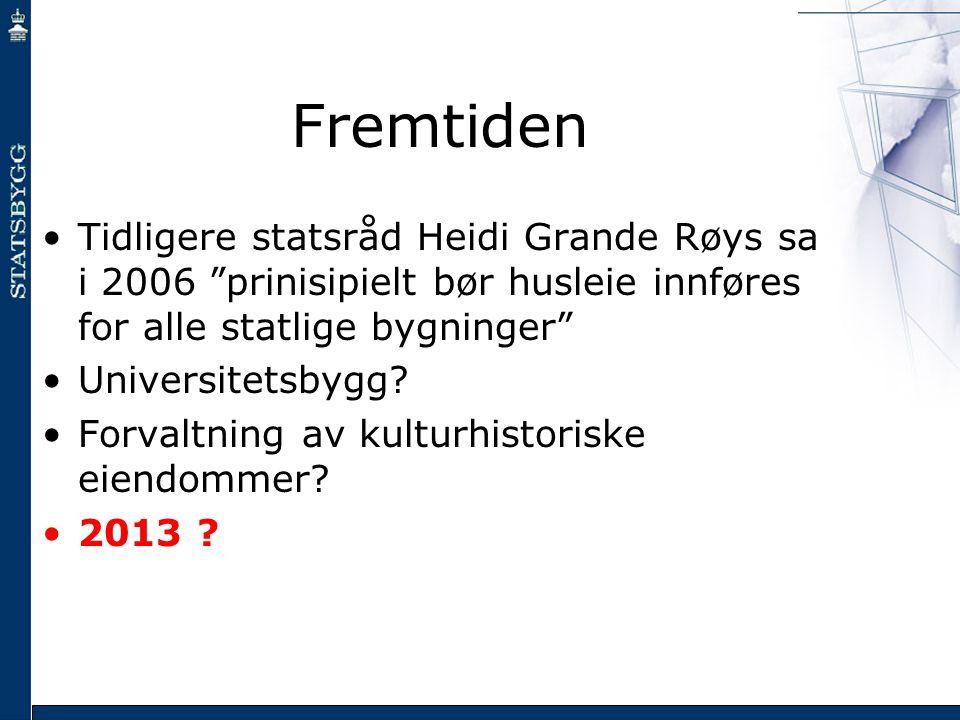 Fremtiden Tidligere statsråd Heidi Grande Røys sa i 2006 prinisipielt bør husleie innføres for alle statlige bygninger