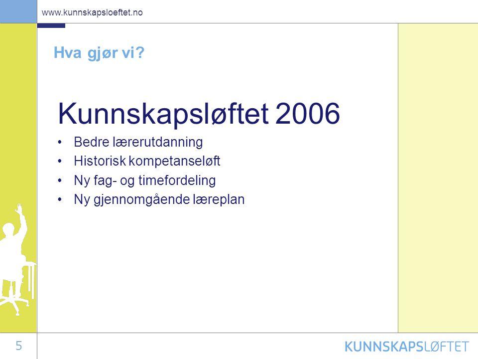 Kunnskapsløftet 2006 Hva gjør vi Bedre lærerutdanning