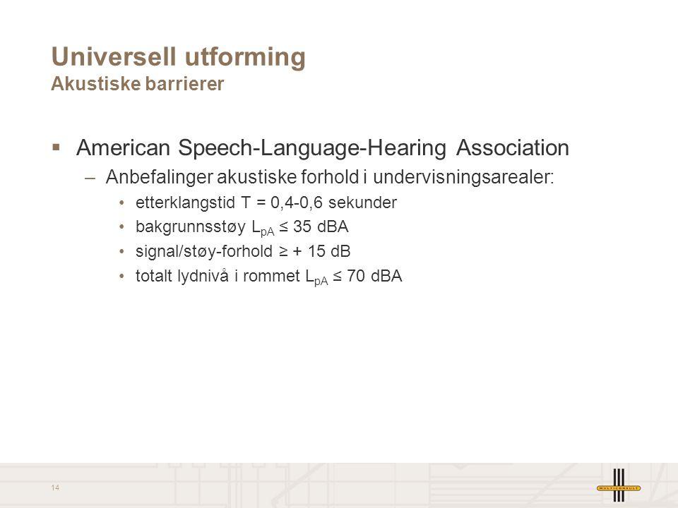Universell utforming Akustiske barrierer