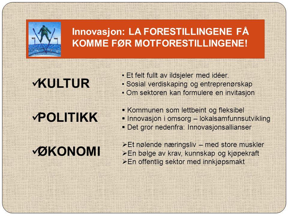 KULTUR POLITIKK ØKONOMI Innovasjon: LA FORESTILLINGENE FÅ
