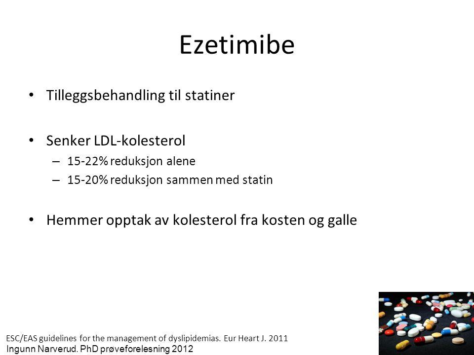 Ezetimibe Tilleggsbehandling til statiner Senker LDL-kolesterol
