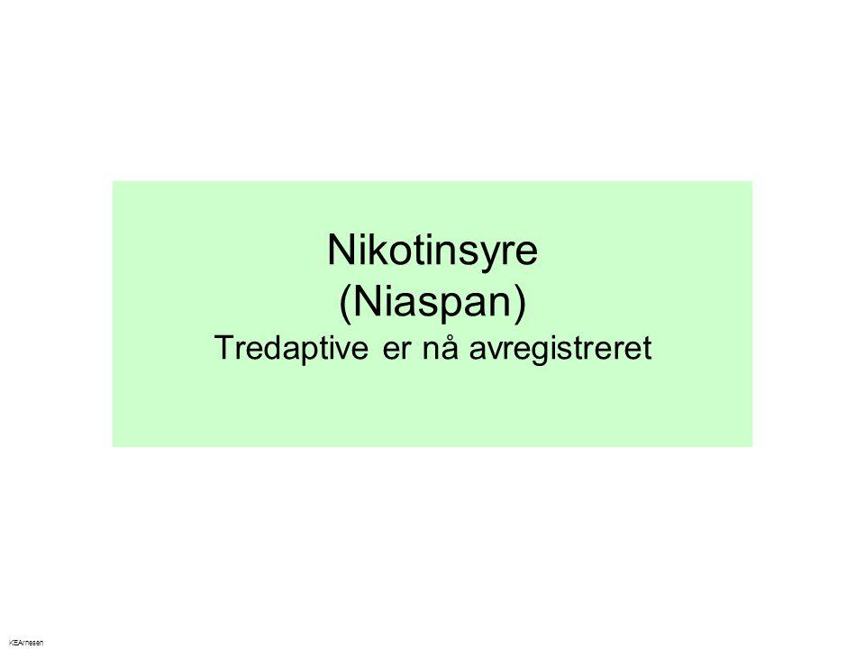 Nikotinsyre (Niaspan) Tredaptive er nå avregistreret