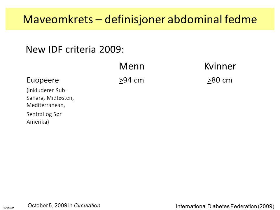 Maveomkrets – definisjoner abdominal fedme