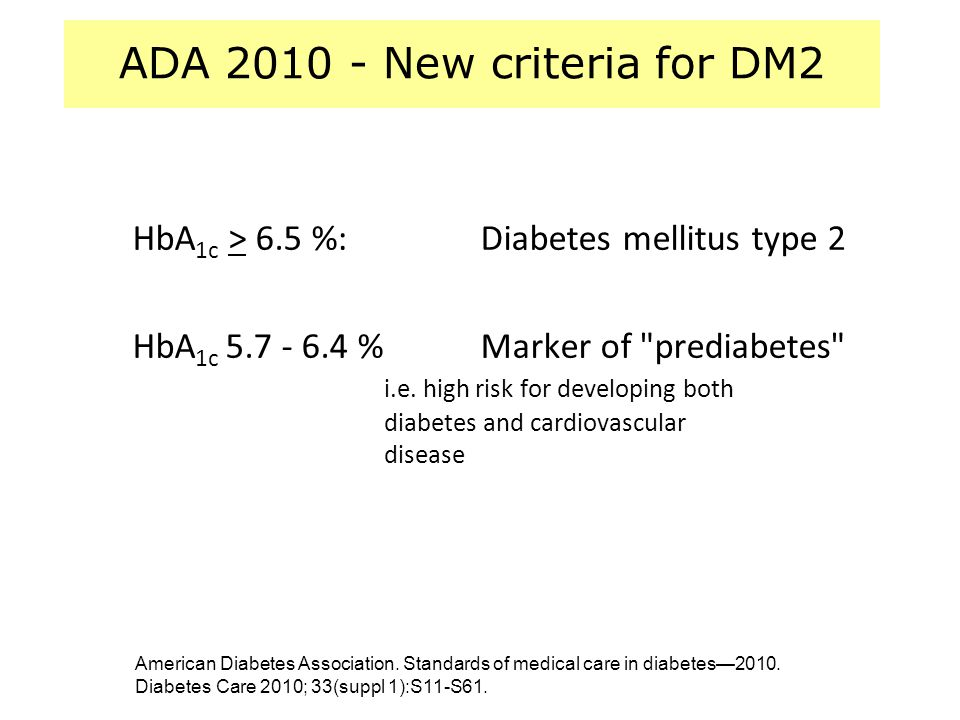 ADA 2010 - New criteria for DM2