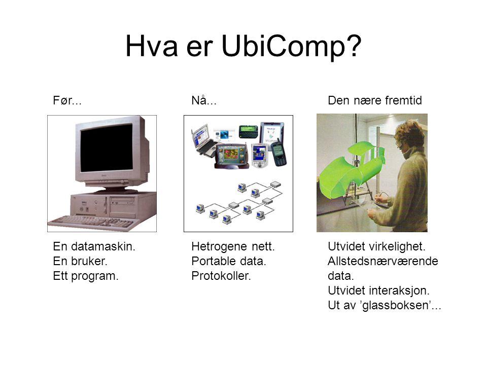 Hva er UbiComp Før... En datamaskin. En bruker. Ett program. Nå...