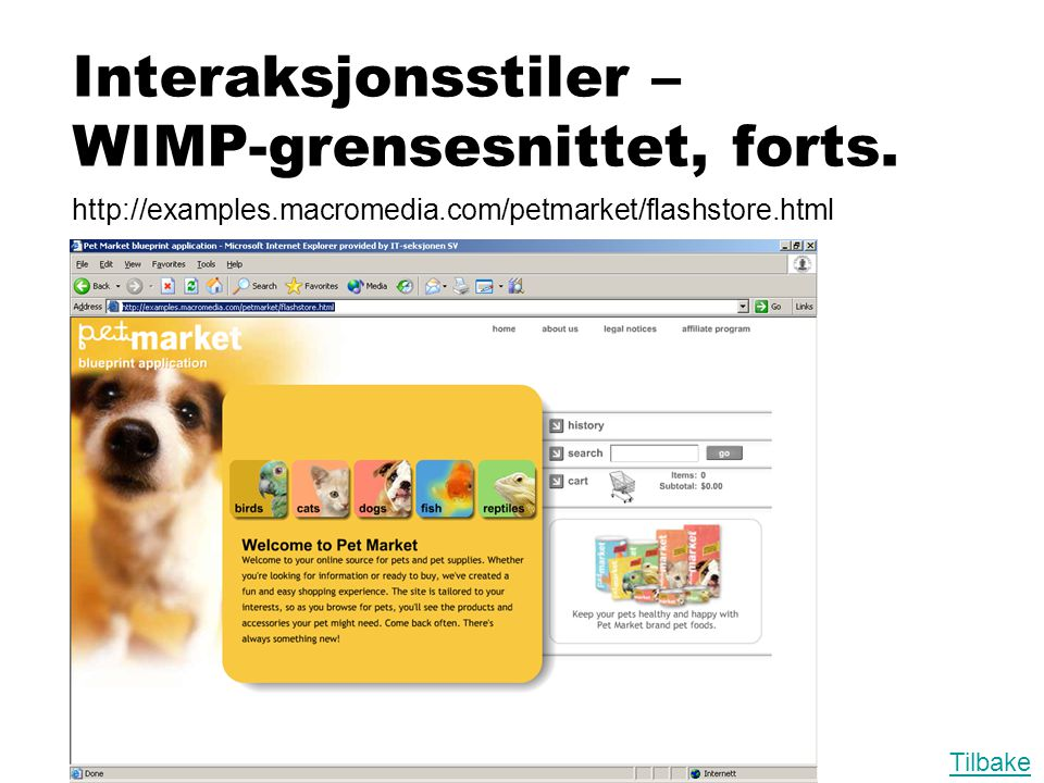 Interaksjonsstiler – WIMP-grensesnittet, forts.